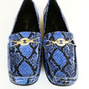 Bellini blue croc gold buckle loafers 9